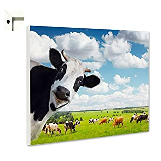 Pinnwand Magnettafel Memoboard Magnettafel Motiv Kuh mit Herde (60 x 40 cm)