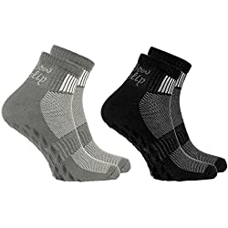 2 pares de calcetines Antideslizantes de Colores ABS Ideal para los Deportes Yoga, Fitness Pilates, Artes Marciales, Danza, Gimnasia, Trampolín tamaños 36-38Algodón Respirable comodidad para los pies