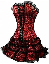 Dissa® gothique dentelle Corset assiette avec G-String, rouge