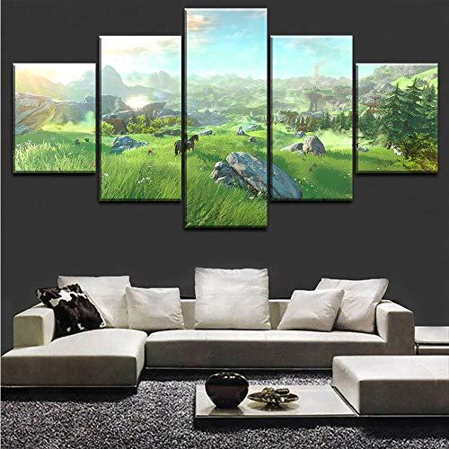 Wuwenw Home Decoration Leinwand Gemälde Hd-Drucke 5 Stück The Legend Of Zelda Wandkunst Spiel Modulare Wohnzimmer Bilder Artwork Poster, 8 X 14/18/22 Zoll, Gerahmt