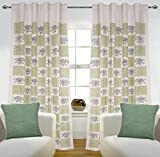 #2: Summer Deal by Linenwalas 100% Cotton Jaipuri Hand Block Print White Window Curtain 2 Piece Matching Cushion Cover (Set of 4) - Parrot Green & Black - Damask with Elephant Print - 5ft