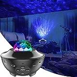 LBell Star projektor nattlampa, 2-i-1 stjärnig nattlampa & havsvåg projektor med fjärrkontroll 10 färger byter musik Bluetooth-högtalare timer för barn vuxna