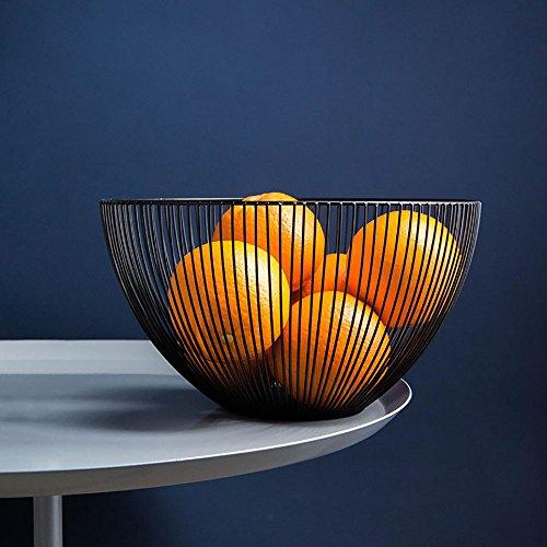 DMAR Frutero Original y de diseño,Metal Fruit Bowl Basket,Negro,10 Inch