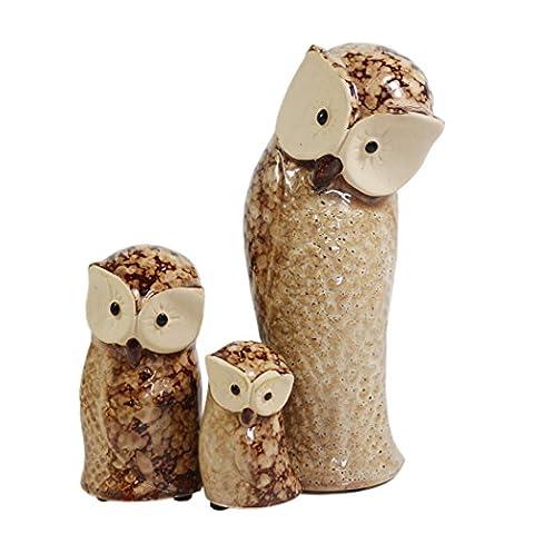Lot de 3Chouette figurine Décoration de table étagère en céramique