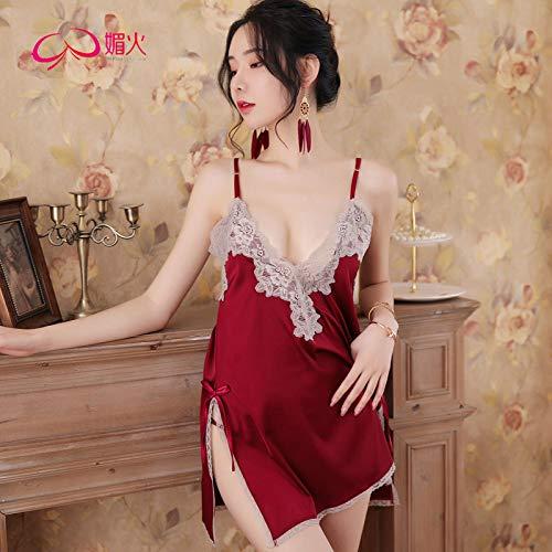 Nouvelle marque lingerie sexy col V dos nu sexy tentation dentelle robe de nuit à bretelles ouvertes -