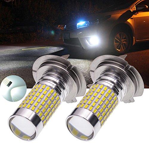 TUINCYN H7 Ampoules antibrouillard super lumineux 1500 lumens 3014 jeux de puces 144SMD Ampoules LED blanc xénon extérieur automobile feux diurnes / feux de route avec lentille (pack de 2)
