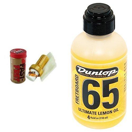 ghs Fast Fret String Cleaner + Dunlop DL PF 00004 6554 Lemon Oil 4 oz Griffbrett Ultimate Zitronen/Lemon Oil Bundle -