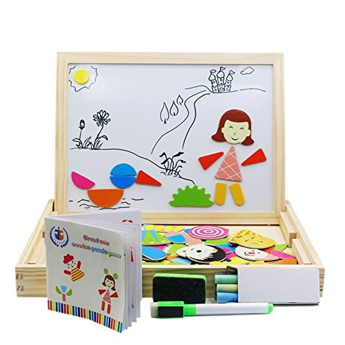 FLERISE Magnetic Puzzles Games 100 Pieces Wooden Toys With Drawing Writing Double Sid Popular Educational Learning Toys for Kids
