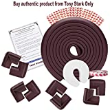 Tony Stark EXTRA LONG Baby Proofing Edge and Corner Guards | Extra Long 16.4 Ft Edge + 8 Corner Protectors with Tape | Child Safety Furniture Cushions | Free Child safety door edge finger protector| Brown
