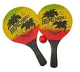 Solex Beach Ball Spiel Set Beachball Schläger Holz mit Ball - Strandspielzeug Ballspiel für Garten und Strand bunt