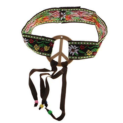 (Gazechimp Friedenszeichen Kopfschmuck Piece Kopfband Hippie Haarband Karneval Haarschmuck)