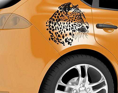 universumsum Autoaufkleber Leopardenkopf Schwarz Matt 60 x 56 cm wal002_a-60-070 Car-Tattoos Autotattoo Auto Tuning Car Styling Selbstklebend