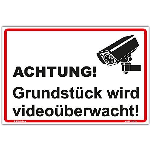 "Schild""Grundstück wird videoüberwacht"" Hinweisschild 300x200 mm stabile Aluminiumverbundplatte 3mm stark"
