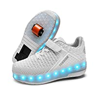 Light-Up Wheelie Trainers for Boys & Girls Wheel Heel Trainers with Wheels,Blue,39