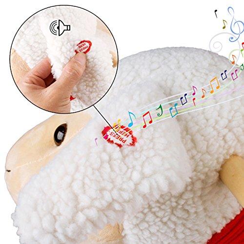 YAOBLUESEA Schaukeltier Kinder und Baby Schaukelpferd, spezieller Schaukelstuhl für Kinder, mit Sound,Keine Notwendigkeit zu installieren-Beige Schafe - 7