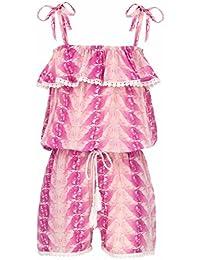 Snapper Rock chica Jumpsuit plumas rosa rosa Talla:9-10 Jahre, 140-146cm