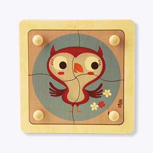 Dida - Puzzle Gufo. Puzzle in legno per bambini 4 tessere con comodi pomelli di legno.
