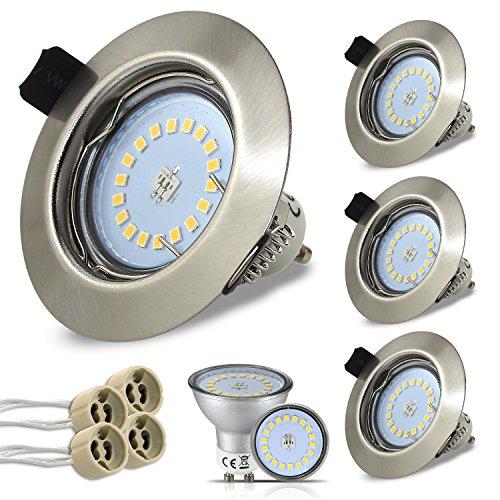 HiBay Rund LED Set 4 Stück Einbaustrahler 5W 18PCS High Power LEDs Warmweiß GU10 SMD + Edelstahl gebürstet Einbaurahmen +GU10 Fassung