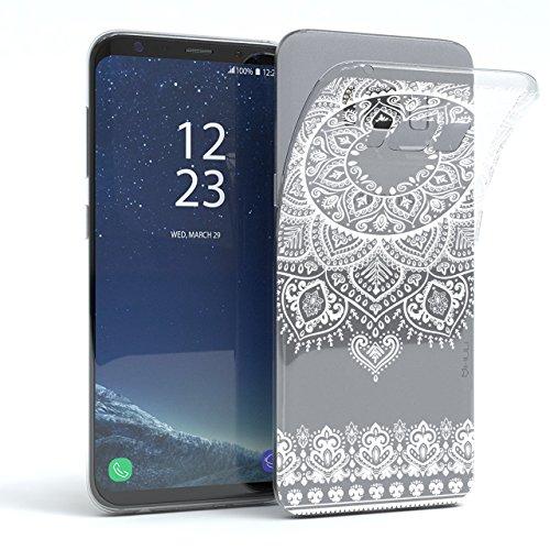 HULI Design Case Hülle für Samsung Galaxy S8 Smartphone im Orientalischen Muster weiß - Schutzhülle aus Silikon mit orientalischem Mandala Henna Ornament Traumfänger - Handyhülle mit Druck