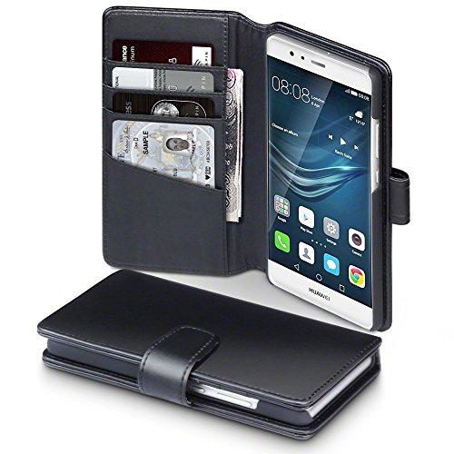 Huawei P9 Case, Terrapin [ECHT LEDER] Brieftasche Case Hülle mit Kartenfächer und Bargeld für Huawei P9 Hülle Schwarz