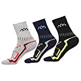 COOLMAX Breathable Warm Socks with 3 Pair - Mens Thermal Sock Fits for Winter Ski Walking Running Snowboard Camping Climbing Sports - Outdoor Hiking Trekking Boot Crew Socks with Thick Cushion Padded and Heat Ankle Protection Design - Men Size UK 6-10 EUR 39-44