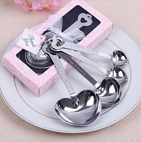 igemy corazón cucharas medidoras de acero inoxidable herramienta boda fiesta cumpleaños bebé ducha favor regalo recuerdos para huéspedes