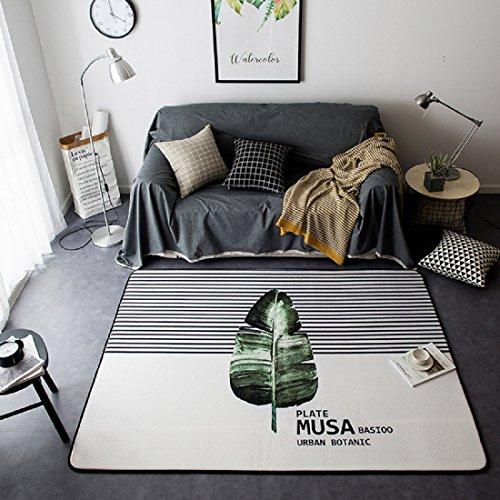 SKY-Maria Bedruckter Teppich Yoga Matte Schlafzimmer Bodenmatte Wohnzimmer Teppich Rutschfeste Matte Literarischer Stil Teppich,Greenleaf,150*195CM