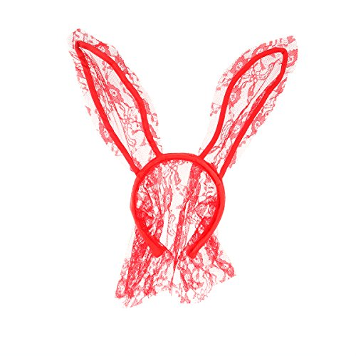 Masquerade Sexy Rabbit Ears Headband Face Veil Mask Costume Ball Fancy Dress Lace Veil Women Mask Hairband for Carnival Masquerade Party Belly Dance Latin Dance Performance (Red)