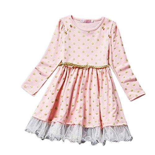Saingace Mädchen Punkt-Spitze-Party-Geburtstags-Gürtel Kinderkleidung Prinzessin Kleider (130, Rosa) (Fleece Dot Pyjama)