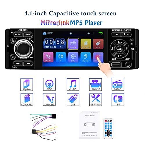 GOFORJUMP Autoradio 1 Din JSD-3001 Autoradio 4-Zoll-Touchscreen Auto-Audio-Spiegel-Link-Stereo-Bluetooth-USB-AUX-Player (Touch Screen Auto Audio)