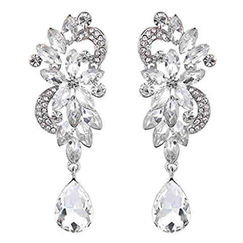 Clearine Women's Bohemian Crystal Flower Wedding Bridal Chandelier Teardrop Bling Dangle Earrings Clear