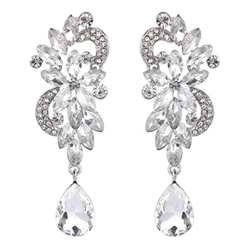 Clearine Women's Vintaged Inspired Crystal Floral Leaf Chandelier Pierced Dangle Earrings 2UdtL