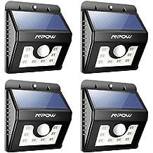 Lámpara Solares 8 LED Impermeable con Sensor de Movimiento Mpow Solar Luz Jardín al Aire Libre de Pared con 3 Modos de Focos Solares, Focos LED Exterior para Jardín Casa Camino Escaleras Pared, Iluminación de Exterior y Seguridad 4 Unidades