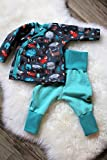 Baby-set Outfit Jungs 2-teilig handmade Pumphose Wickeljacke Waldtiere Füchse Gr.56-62 Unikat