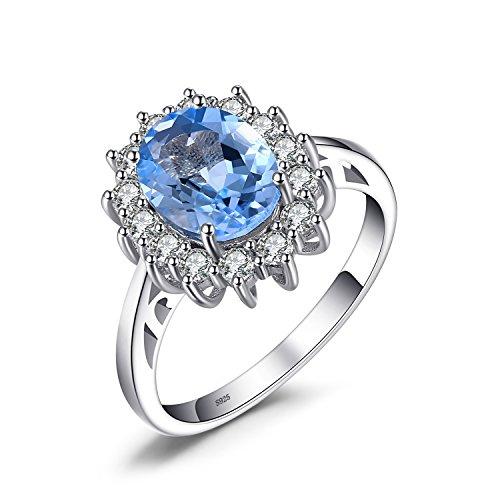 jewelrypalace principess diana william kate 2.3ct naturale blu topazio fidanzamento halo anello 925 sterling argento 17