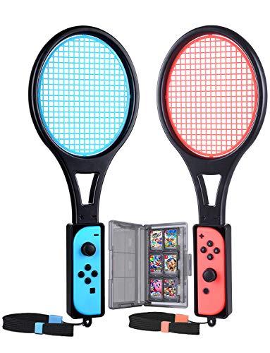 Tendak Tennisschläger für Nintendo Switch Mario Tennis Aces Spiele Tennis Racket für Joy-Con Controllers mit 12 in 1 Spiele Karte Case Tasche (2 Stück, Blau und Rot) -