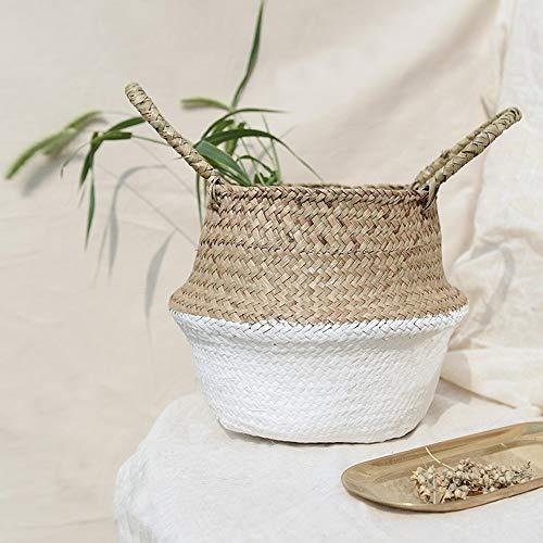 Jaminy Korb aus natürlichem Seegras, handgefertigter Seegraskorb mit Griff, nutzbar als Bauchkorb, Pflanzgefäß, für Spielzeuge oder als Wäschekorb (Weiß) (Oval-speicher-körbe)