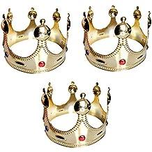 Corona de Rey Dorada Pack 3 uds (Corona Rey Mago Navidad)