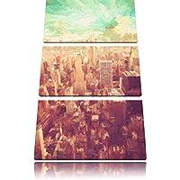 Visualizza immagine Elicottero Manhattan Brush Effect 3 PC foto su tela 120x80 di su tela, XXL enormi immagini completamente Pagina con la barella, stampe d'arte sul murale cornice gänstiger come la pittura o un dipinto ad olio, non un manifesto o un