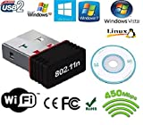 #8: AlexVyan-Mini Wi-Fi Receiver 450 Mbps with Installation CD & Driver Link,2.4GHz, 802.11b/g/n USB 2.0 Wireless Wi-Fi for Windows XP,Windows7 & more