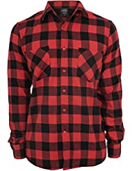 Urban Classics Pour homme CheckeredCasual Chemise - Multicolore - Blk/Rouge - Large