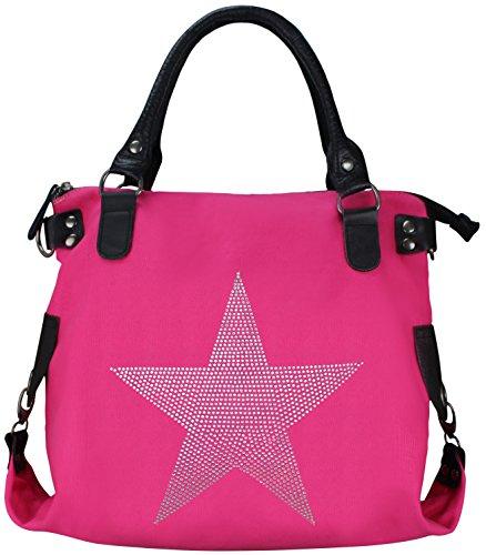 Damen FASHION Handtasche Sterne Canvas TOP TREND Tragetasche (Strass Neon Pink)