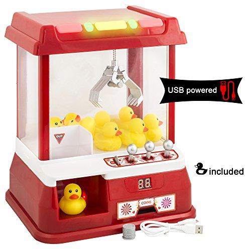 Gadgy Candy Grabber mit USB-Kabel und 9 Plastikenten | Süßigkeiten Automat für Zuhause | Greifmaschine Spiel mit Timer | Mini Jahrmarkt Spielautomat Rot