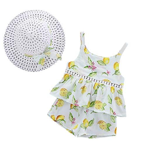 Kinder Kleider Baby Mädchen Kleid Ärmelloses O-Neck-Kleid Blumenschleife Heligen Prinzessin Sommerkleider Festes Kleid Spielanzug Outfits Princess Casual Shorts Hat Set
