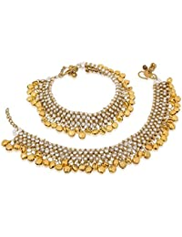 Traditional Pearls Stone Fancy Stylish Gold Plated Anklets Set For Women & Girls / Payals With Ghunghru For Women...