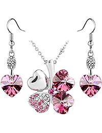 Le Premium® Schmuck-Set Vier Blättern Klee Halskette+ohrring baumeln Herz geformt Swarovski Rosa Kristalle