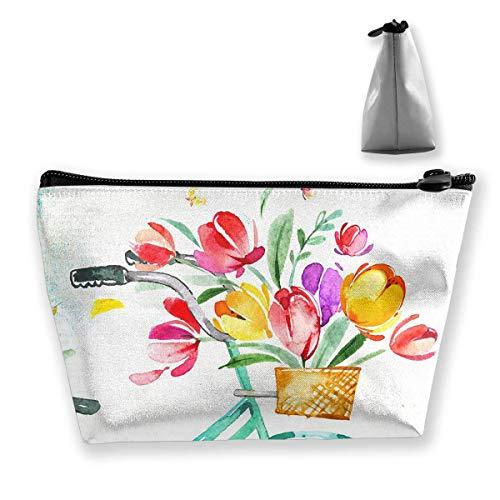 Storage Bag Aqua Floral Bicycle Tulips Watercolor Rustic Travel Makeup Train Case Storage Bag -
