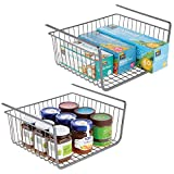 mDesign 2er-Set Hängekorb aus rostfreiem Metall - großer Aufbewahrungskorb für die Küche und Vorratskammer - robuster Drahtkorb für Lebensmittel und Küchenutensilien - grau