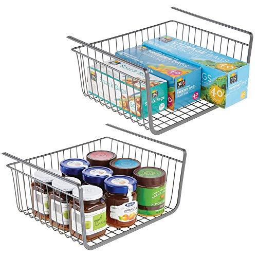 mDesign Juego de 2 estantes de cocina colgantes de metal inoxidable - Cestas metálicas grandes para cocina y despensa - Robusta cesta colgante para alimentos y utensilios de cocina - gris