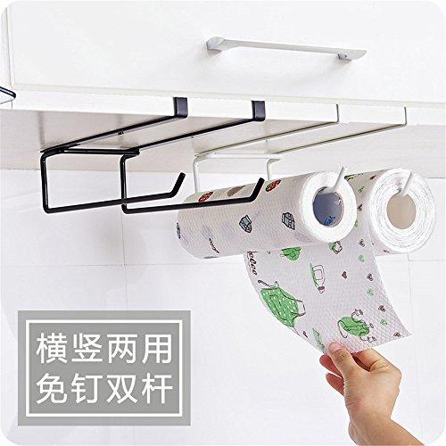 Toallero de hierro de doble fila para rollos de papel, soporte para cajón, armario, puerta, toallas; perchero para la cocina y el baño 26.7 x 6.7 x 11.3 cm Black+white(2 Set)